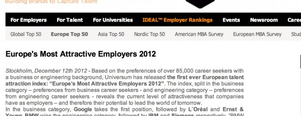 "Universums ""Europe's Most Attractive Employers 2012″"