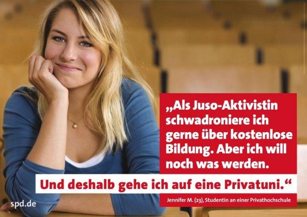 """Ein dickes """"Ups"""" im Wahlkampf – Plakat-Model wirbt gegen Studiengebühren, studiert aber selbst an Privatunis"""