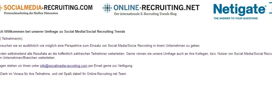 Umfrage zu Social-Media-Trends/Social-Recruiting-Trends