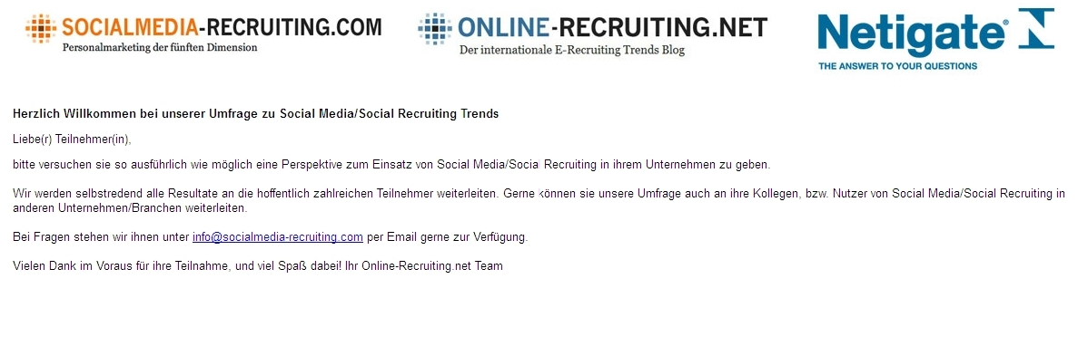 Umfrage zu Social-Media-Trends/Social-Recruiting-Trends
