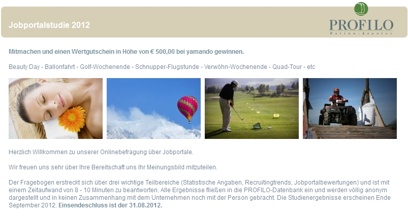 "Hinweis: Qualitätstest ""Deutschlands Beste Jobportale 2012""  gestartet!"