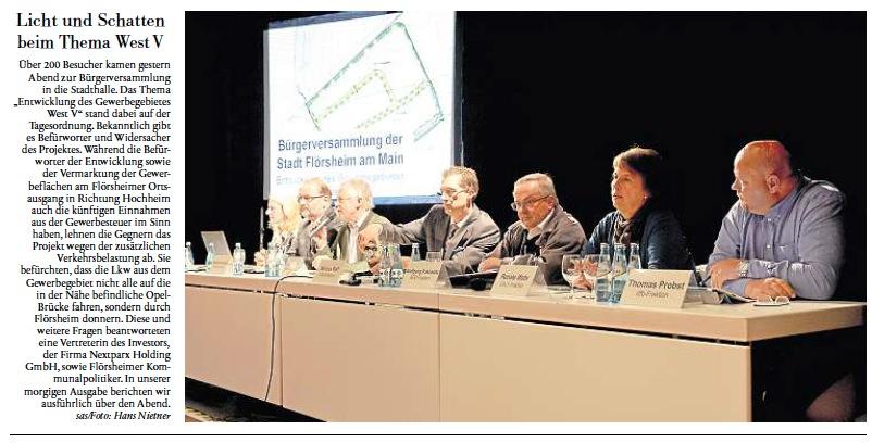 Berichterstattung über die Bürgerversammlung zum Gewerbegebiet West V