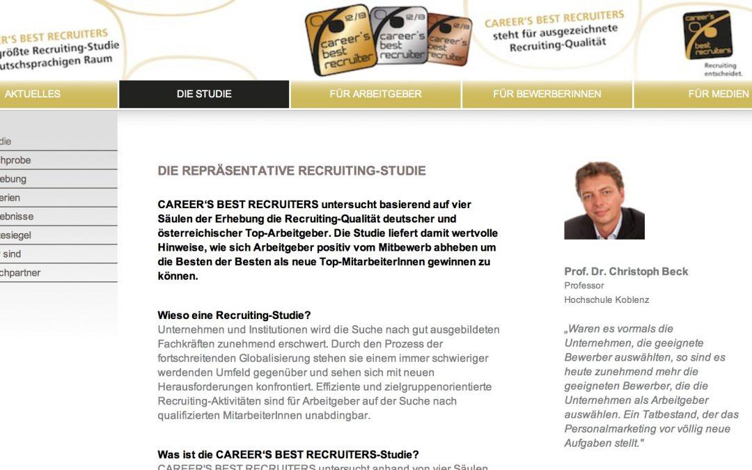Rewe, Krones und Philips auf den ersten Plätzen bei der 2013er Studie von Career's best Recruiters