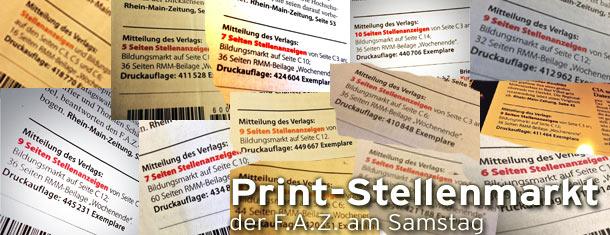 Print-Stellenmarkt der F.A.Z. erodiert weiterhin auf 4,92 Seiten im 1. Halbjahr 2014