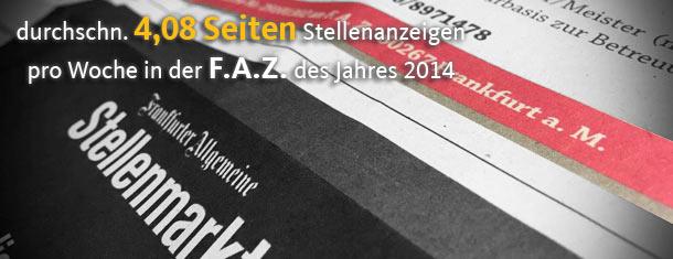 Print-Stellenmarkt der F.A.Z. erodiert weiterhin auf 4,08 Seiten im Jahr 2014