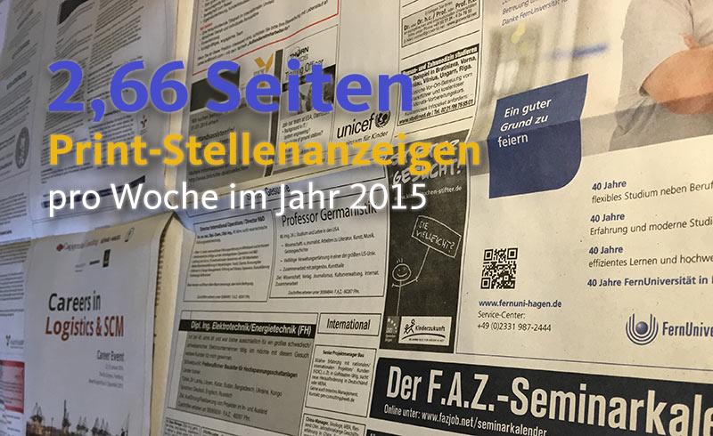Print-Stellenmarkt der F.A.Z. erodiert weiterhin auf 2,66 Seiten im Jahr 2015