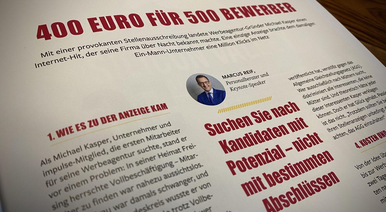 """Impulse: """"400 Euro für 500 Bewerbungen"""" - Feedback auf eine provokante Stellenanzeige"""