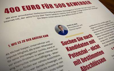 """Impulse: """"400 Euro für 500 Bewerbungen"""" – Feedback auf eine provokante Stellenanzeige"""